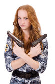 Young woman soldier with gun on white — Stock Photo