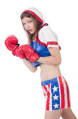 Woman boxer in uniform with US symbols — Stock Photo