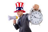 Man with loudspeaker and clock — Foto Stock