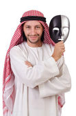 Arab in hypocrisy concept on white — Stock Photo