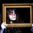 Monster with picture photo frame in dark room0 — Photo