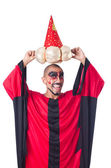 Wizard in red costume isolated on white — Stock Photo