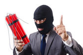 Terrorist with dynamite isolated on white — Stock Photo