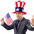 Man with american flag and hat — Stock Photo