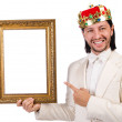 King with picture frame on white — Stock Photo