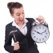 Woman trying to break the clock — Stock Photo #36128855