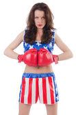 Kvinna boxare i uniform med oss symboler — Stockfoto