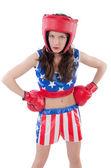 La mujer del boxeador en uniforme con nosotros símbolos — Foto de Stock
