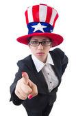 Woman businessman with american symbols — Stock Photo