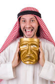 Arab in hypocrisy concept on white — Stock Photo