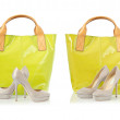Collage of shoes and bags on white — Stock Photo