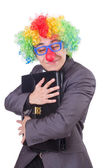 Clown businessman isolated on white — Stock Photo