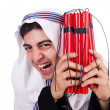 Arab man with red sticks of dynamite — Stock Photo