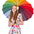 Young girl with colourful umbrella — Stock Photo