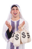 Arab man with money sacks isolated on white — Stock Photo