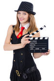 Woman gangster with movie board on white — Stock Photo