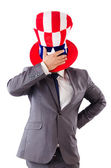 Man with american hat on white — Stock Photo