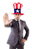 Man with american hat isolated on white — Stock Photo