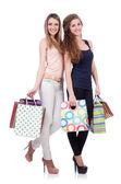 Bästa vänner efter shopping på vit — Stockfoto