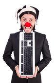 Lustiger clown mit tastatur isoliert auf weiß — Stockfoto