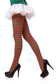 Woman legs in striped stockings on white — Stock Photo