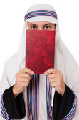 Arab man with book isolated on white — Stockfoto