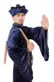 Martial arts master with nunchucks on white — ストック写真