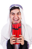 Arab man with red sticks of dynamite — Foto Stock