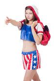 Frau boxer in uniform mit uns symbole — Stockfoto