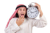 Arab man in time concept on white — Foto Stock