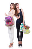 Best friends afte shopping on white — 图库照片