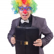 Stock Photo: Clown businessmisolated on white