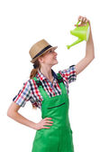 Young woman with watering can on white — Stock Photo
