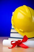 Industrial education with hard hat — Stock Photo