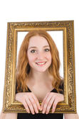 Kvinna med fotoram — Stockfoto