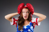 Woman boxer in uniform with US symbols — Foto de Stock