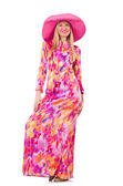 Kvinna i panama hatt — Stockfoto