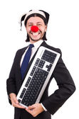 Palhacinho com teclado — Fotografia Stock