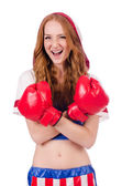 Woman boxer in uniform — Foto de Stock