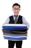 Funny man with lots of folders — Stock Photo