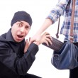 Thief stealing woman's bag — Stock Photo