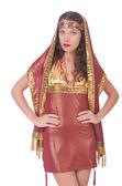 Kvinna i östra klänning — Stockfoto