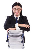 Funny man with lots of papers — Stock Photo