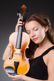 Woman artist with violin — Stock Photo