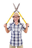 Funny guy with garden shears — Stock Photo