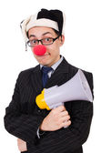 бизнесмен клоун с громкоговорителем на белом — Стоковое фото