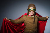 Funny pilot with goggles and helmet — Stock Photo