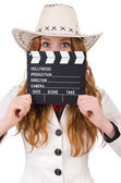 Young cowgirl with movie board — Stock Photo