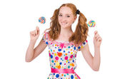 Pretty girl with lollypops — Stock Photo