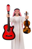 Arab musician with violin and guitar — Stock Photo